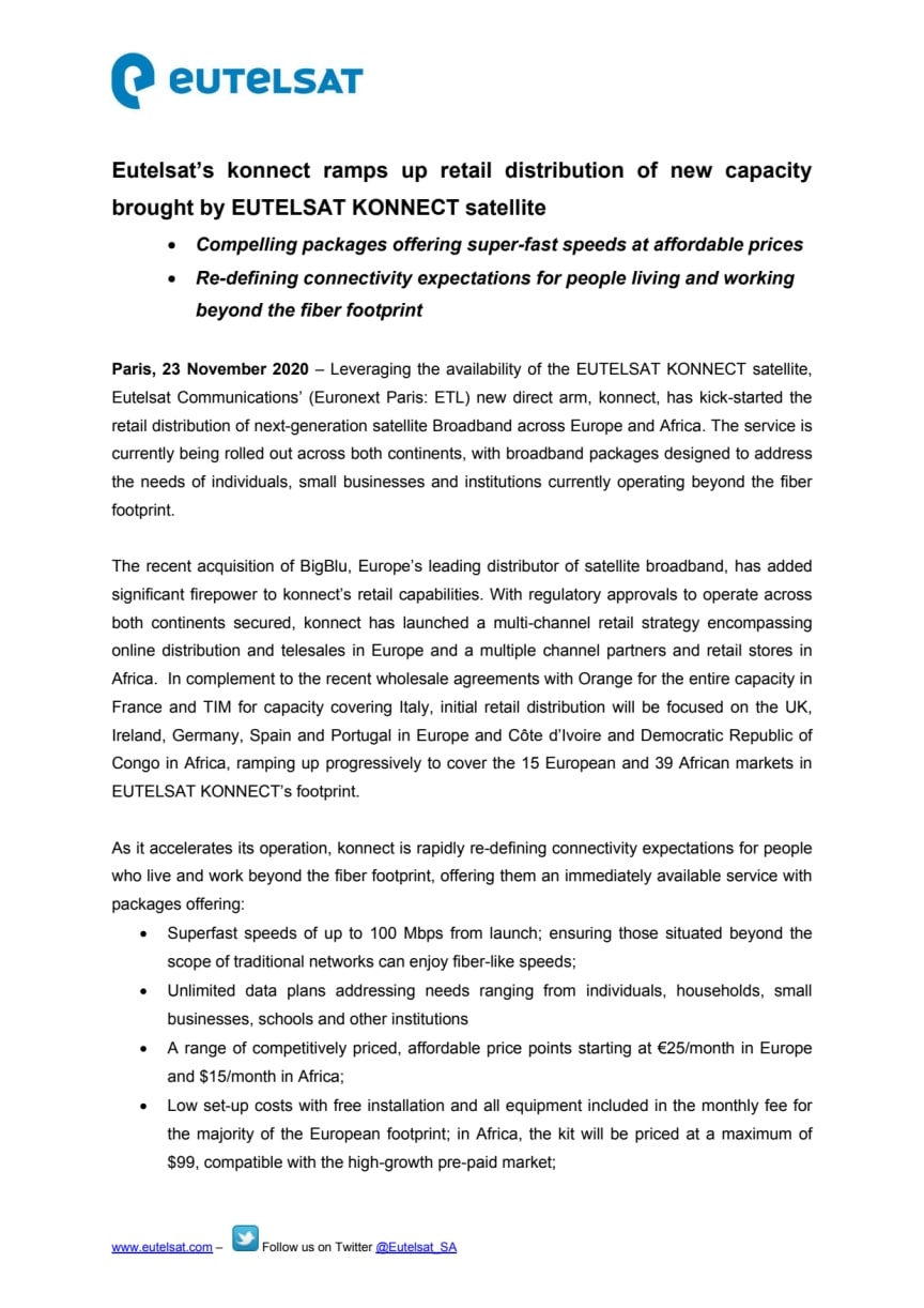 Eutelsat's konnect ramps up retail distribution of new capacity brought by EUTELSAT KONNECT satellite