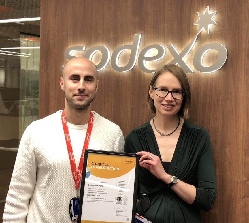 André Sandberg, Quality Manager Sodexo Nordics och Anna Burholm, HSE Manager Sodexo Sverige