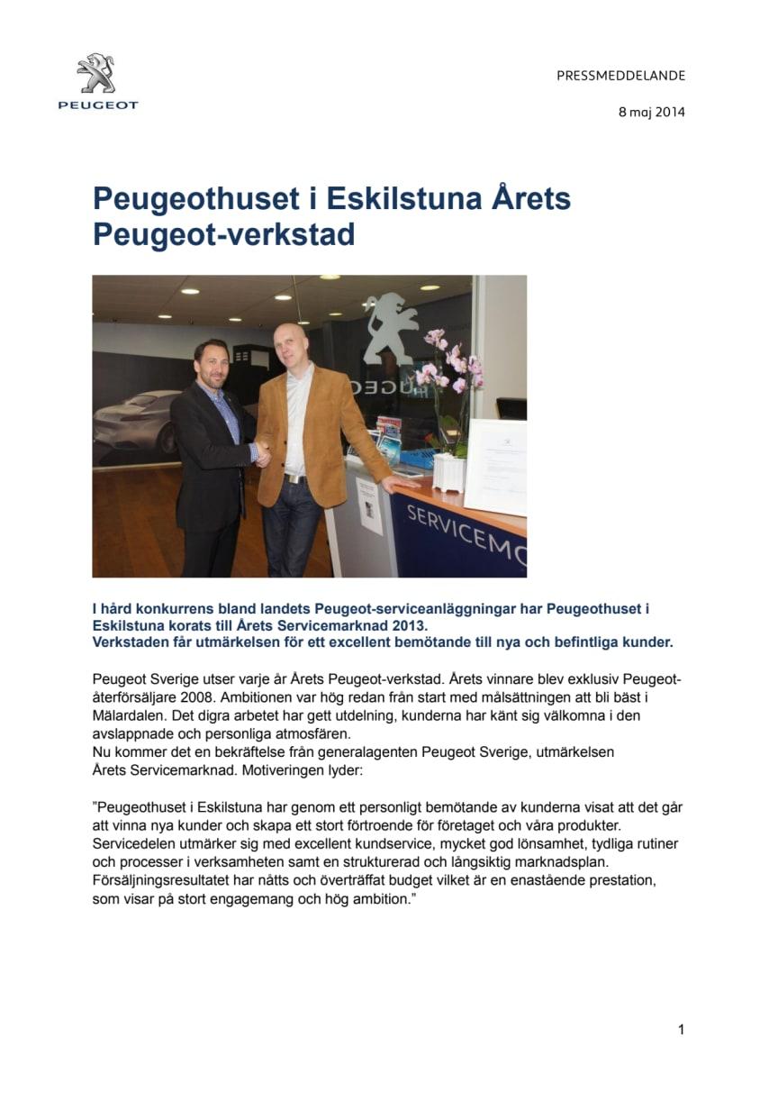 Peugeothuset i Eskilstuna Årets Peugeot-verkstad