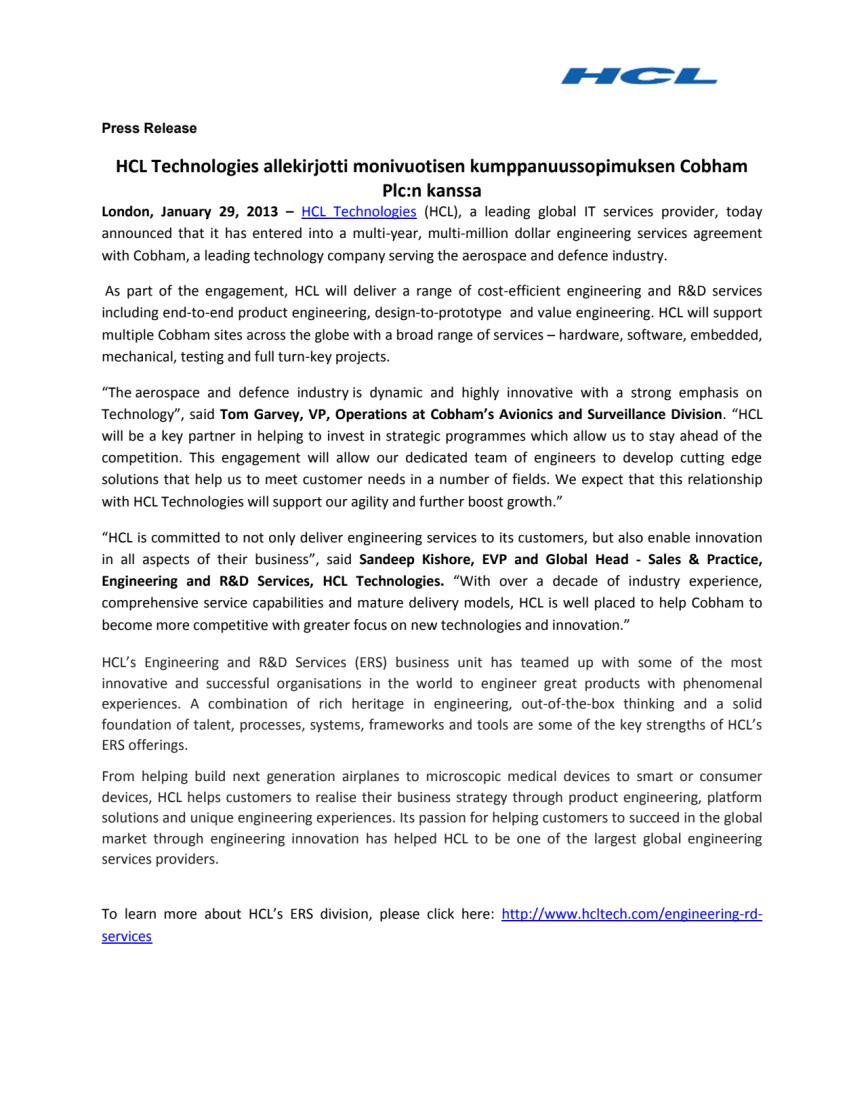 HCL Technologies allekirjotti monivuotisen kumppanuussopimuksen Cobham Plc:n kanssa