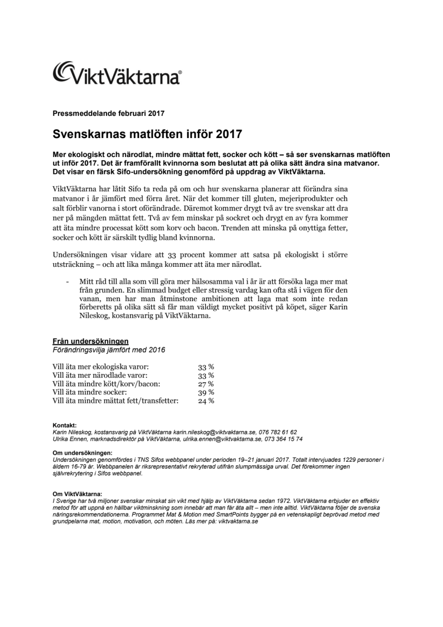 Svenskarnas matlöften inför 2017