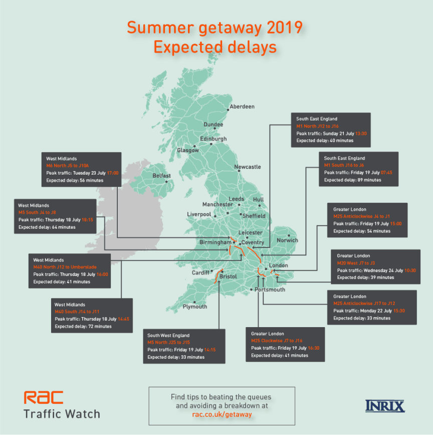 Where? When? A map of expected traffic jams for the UK summer getaway 2019