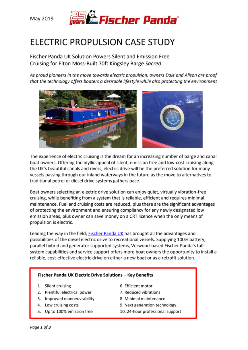 Fischer Panda UK - Electric Propulsion Case Study