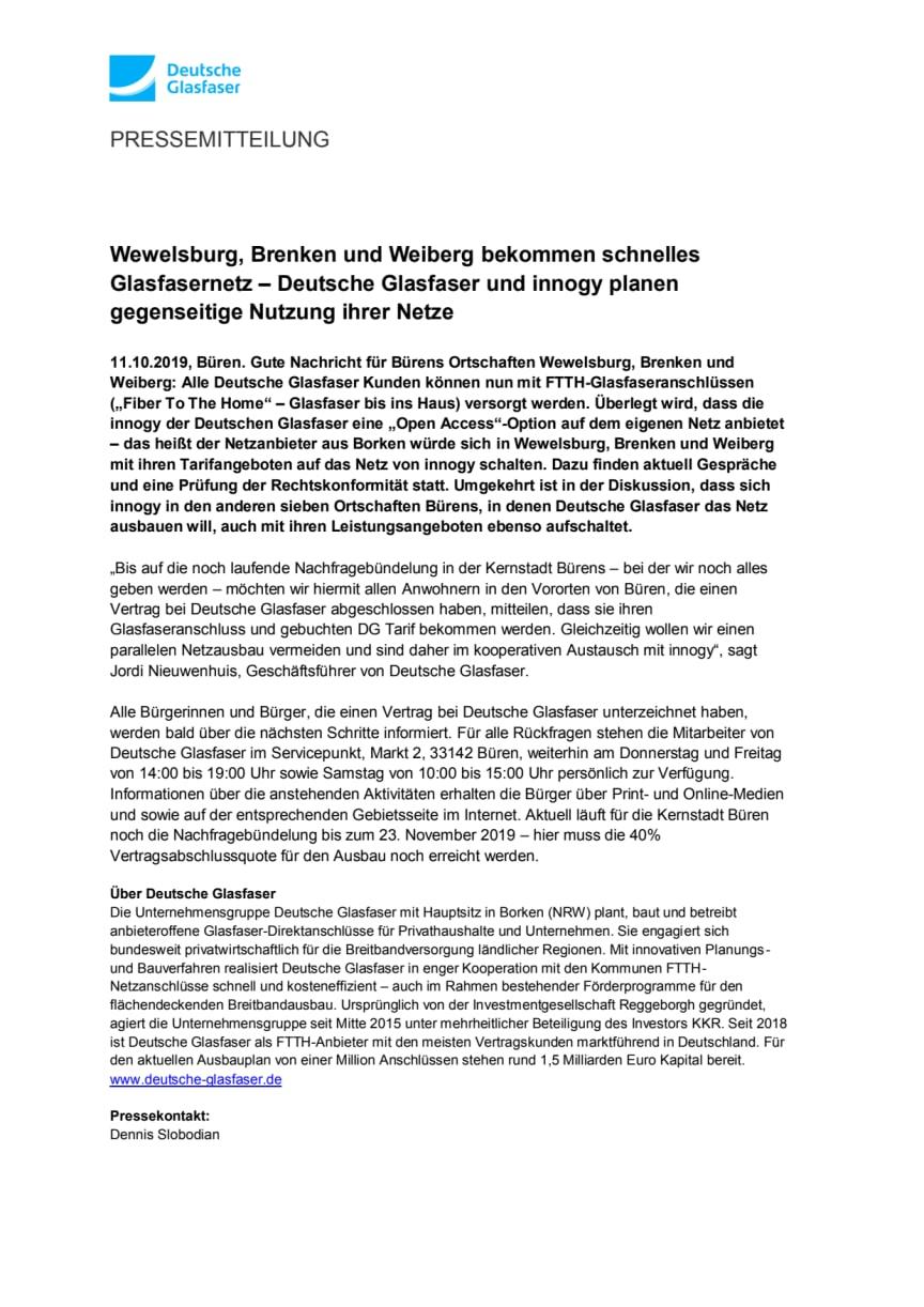 Wewelsburg, Brenken und Weiberg bekommen schnelles Glasfasernetz – Deutsche Glasfaser und innogy planen gegenseitige Nutzung ihrer Netze