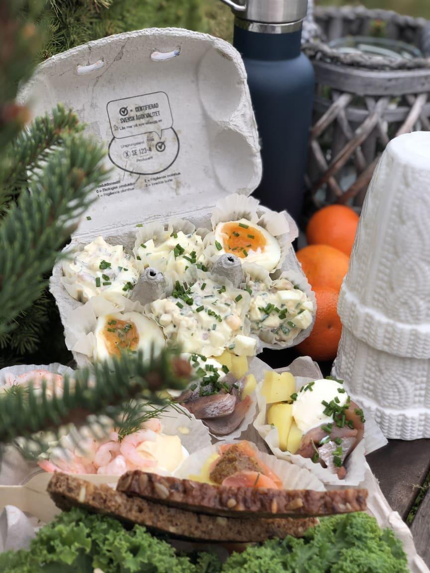 Juliga smårätter i äggkartong