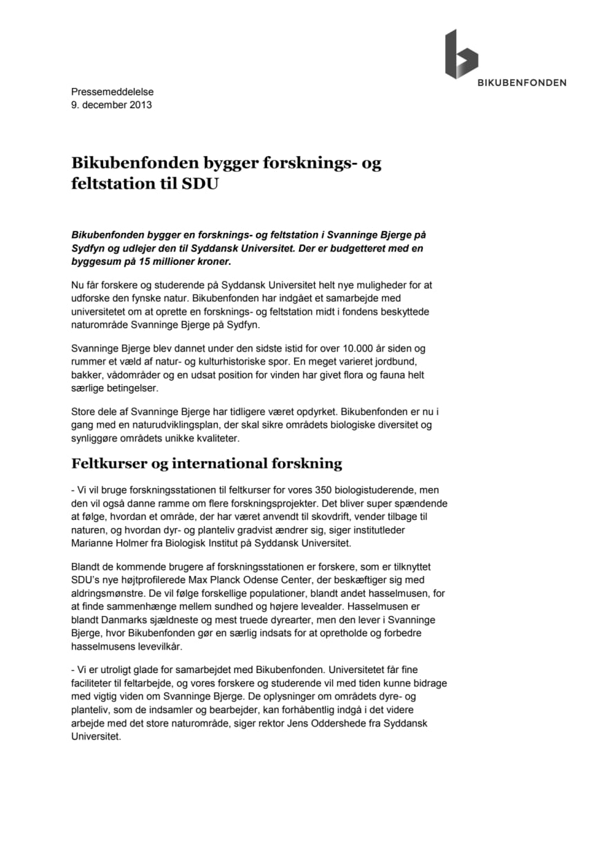 Bikubenfonden bygger forsknings- og feltstation til SDU