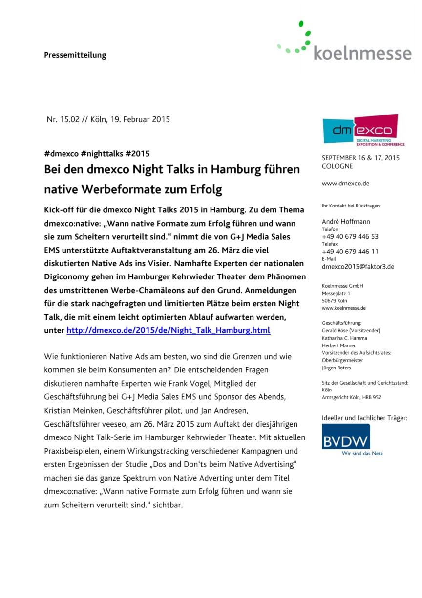 Bei den dmexco Night Talks in Hamburg führen native Werbeformate zum Erfolg