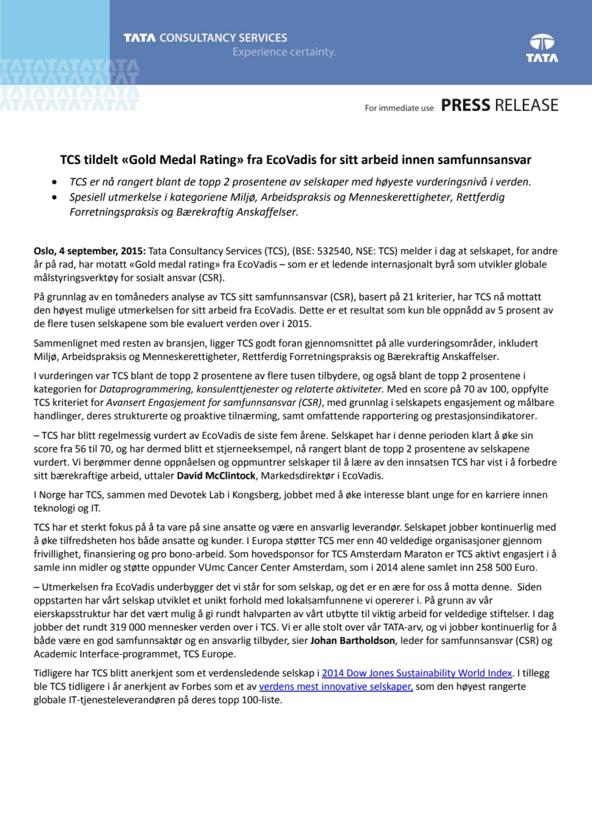 """TCS tildelt """"Gold Medal rating"""" fra EcoVadis for sitt arbeid innen samfunnsansvar"""