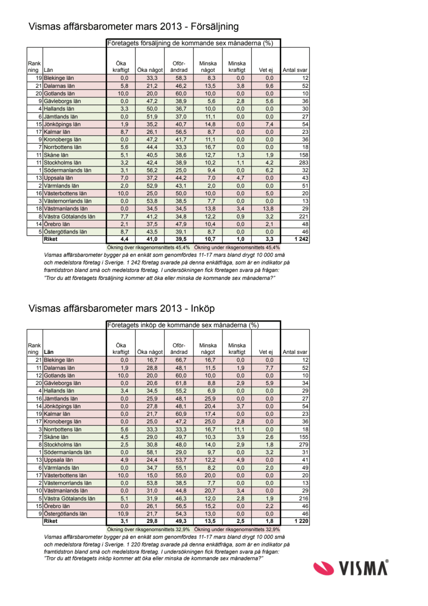 Vismas affärsbarometer våren 2013