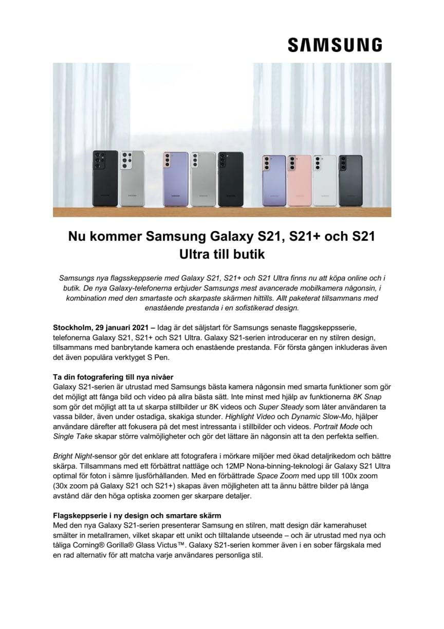 Nu kommer Samsung Galaxy S21, S21+ och S21 Ultra till butik