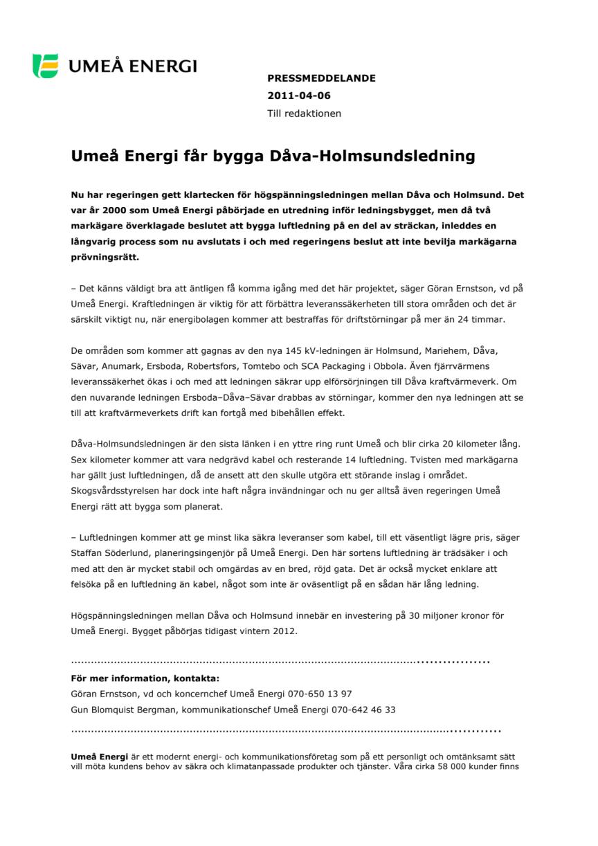 Umeå Energi får bygga Dåva-Holmsundsledning