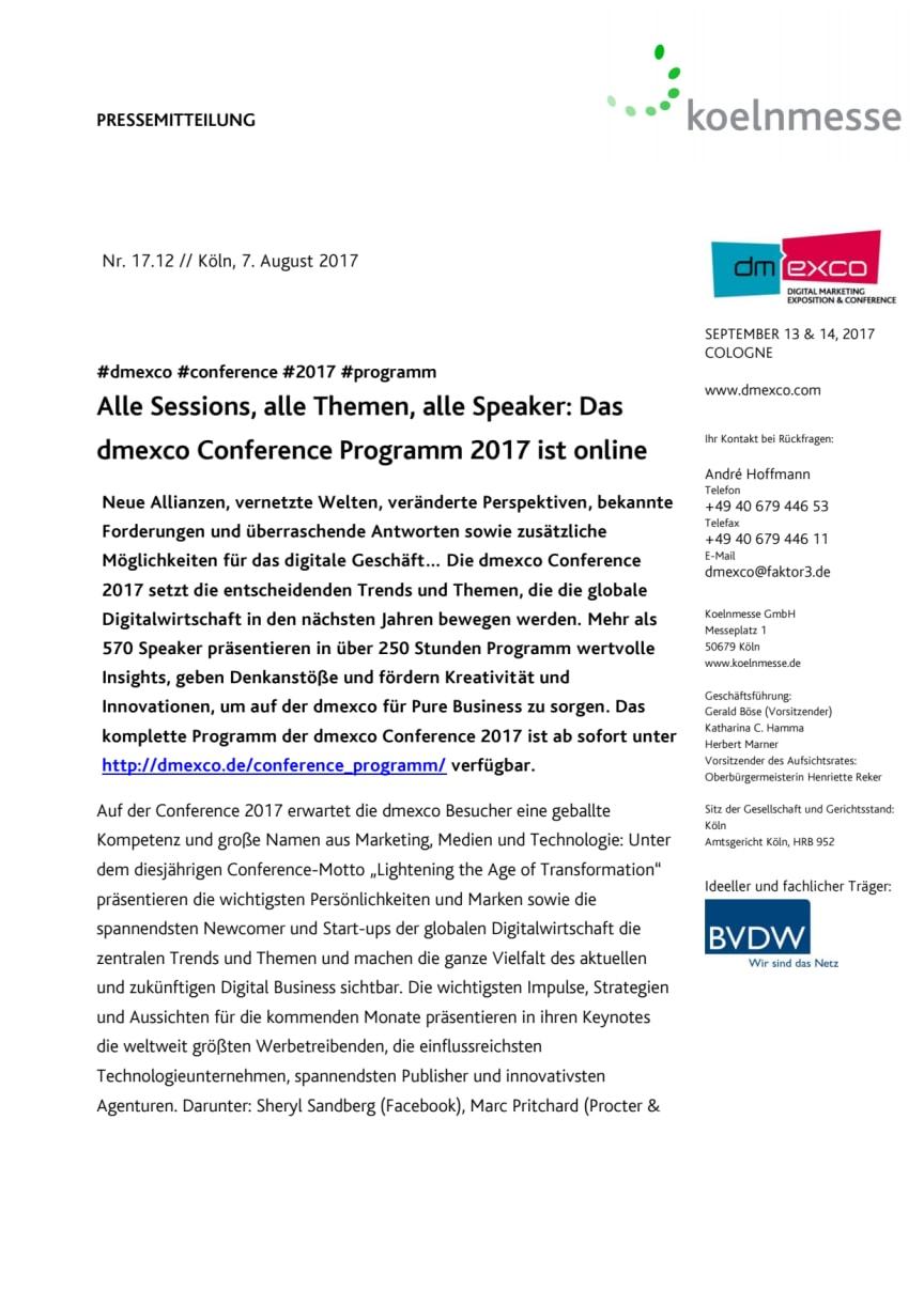 Alle Sessions, alle Themen, alle Speaker: Das dmexco Conference Programm 2017 ist online