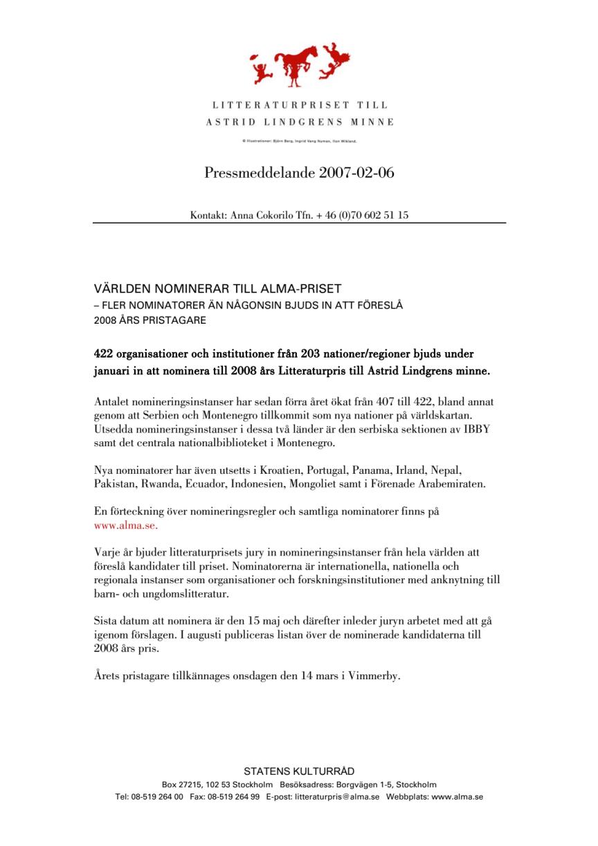 VÄRLDEN NOMINERAR TILL ALMA-PRISET – FLER NOMINATORER ÄN NÅGONSIN BJUDS IN ATT FÖRESLÅ 2008 ÅRS PRISTAGARE