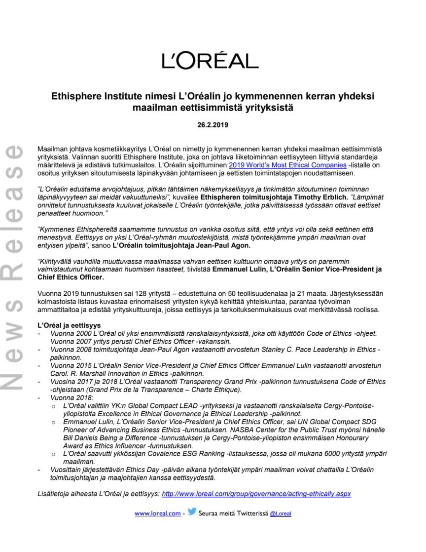 Ethisphere Institute nimesi L'Oréalin jo kymmenennen kerran yhdeksi maailman eettisimmistä yrityksistä