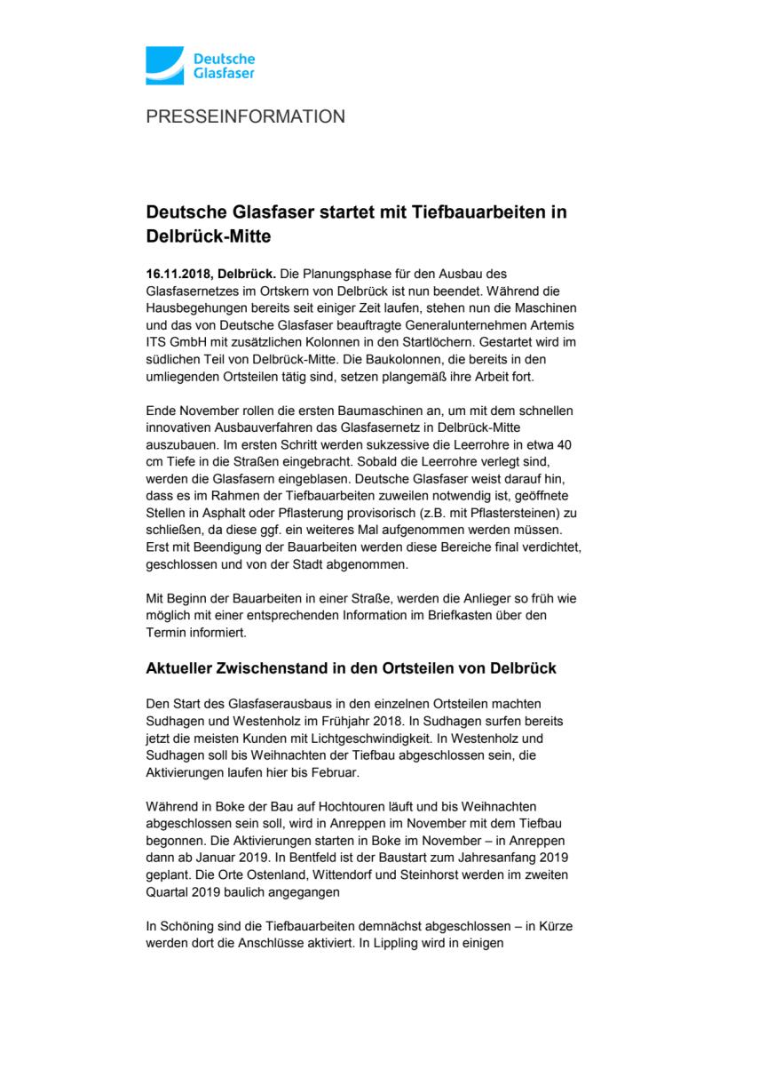 Deutsche Glasfaser startet mit Tiefbauarbeiten in Delbrück-Mitte