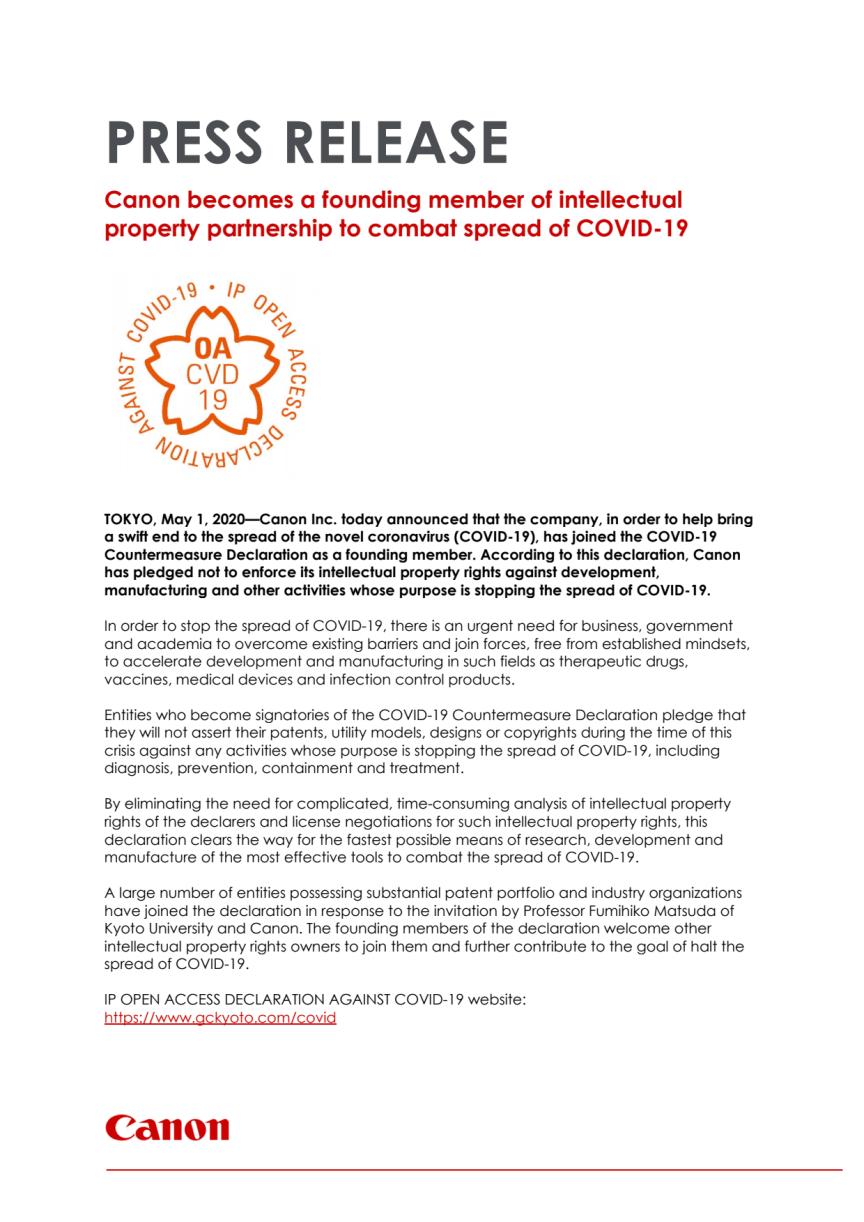 Canon är med och grundar partnerskap för immateriella rättigheter med syfte att bekämpa spridningen av COVID-19.