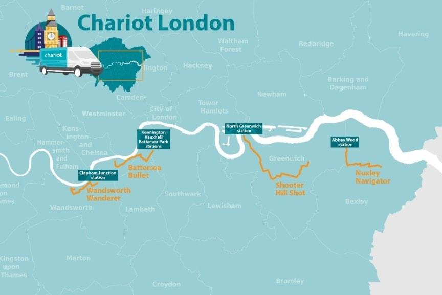 Chariot kort over London