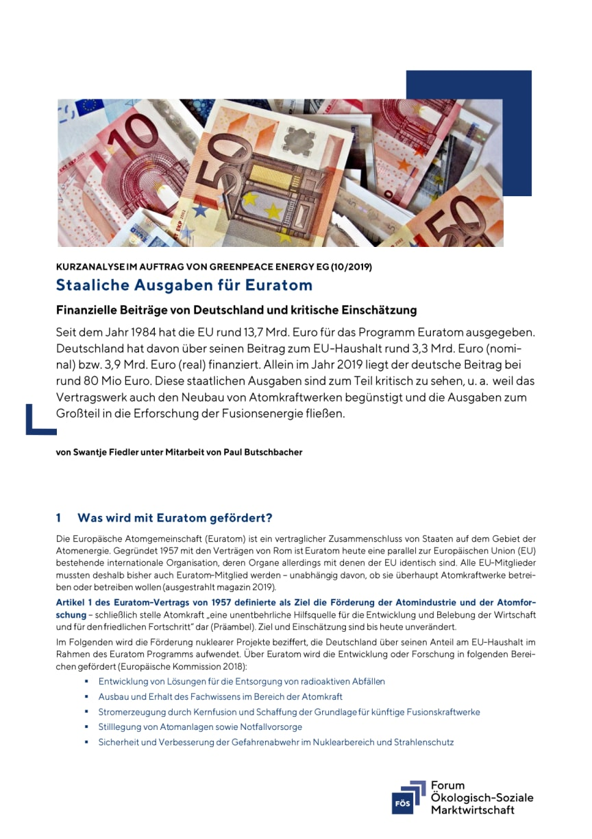 FÖS-Kurzanalyse zu staatlichen Ausgaben für EURATOM (PDF)