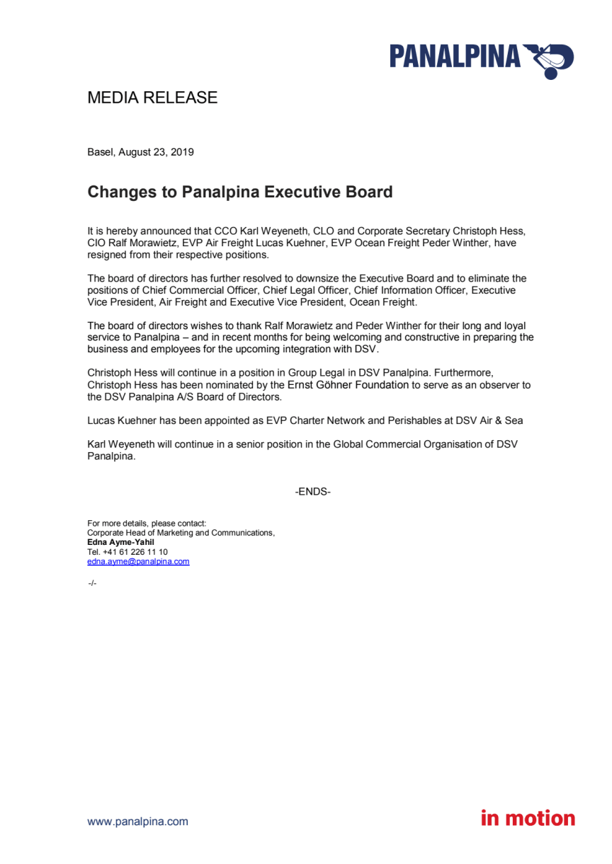 Changes to Panalpina Executive Board