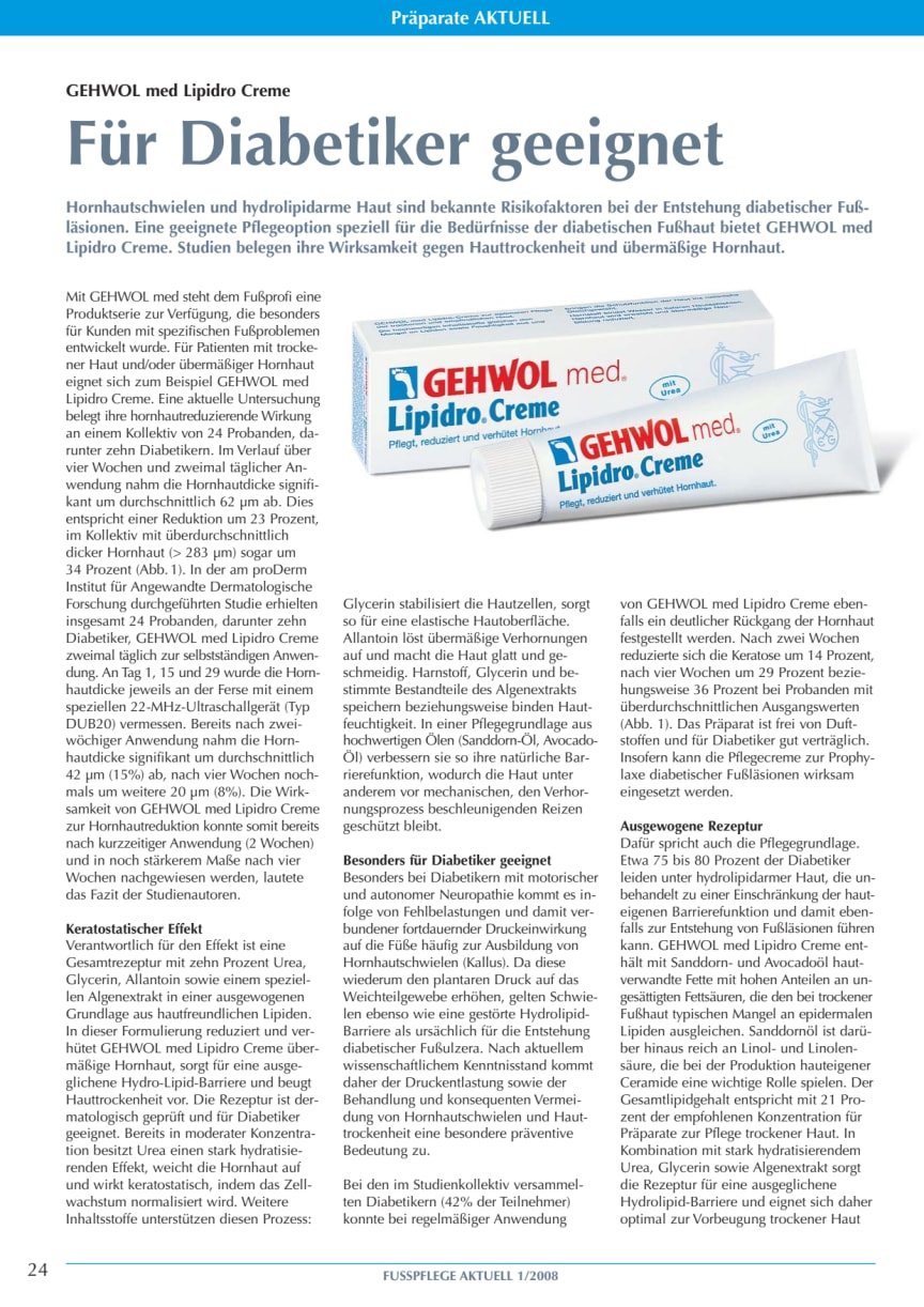GEHWOL med Lipidro Creme: Für Diabetiker geeignet