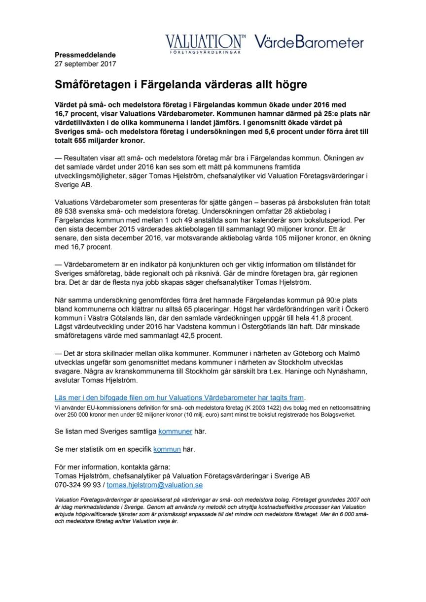 Värdebarometern 2017 Färgelandas kommun