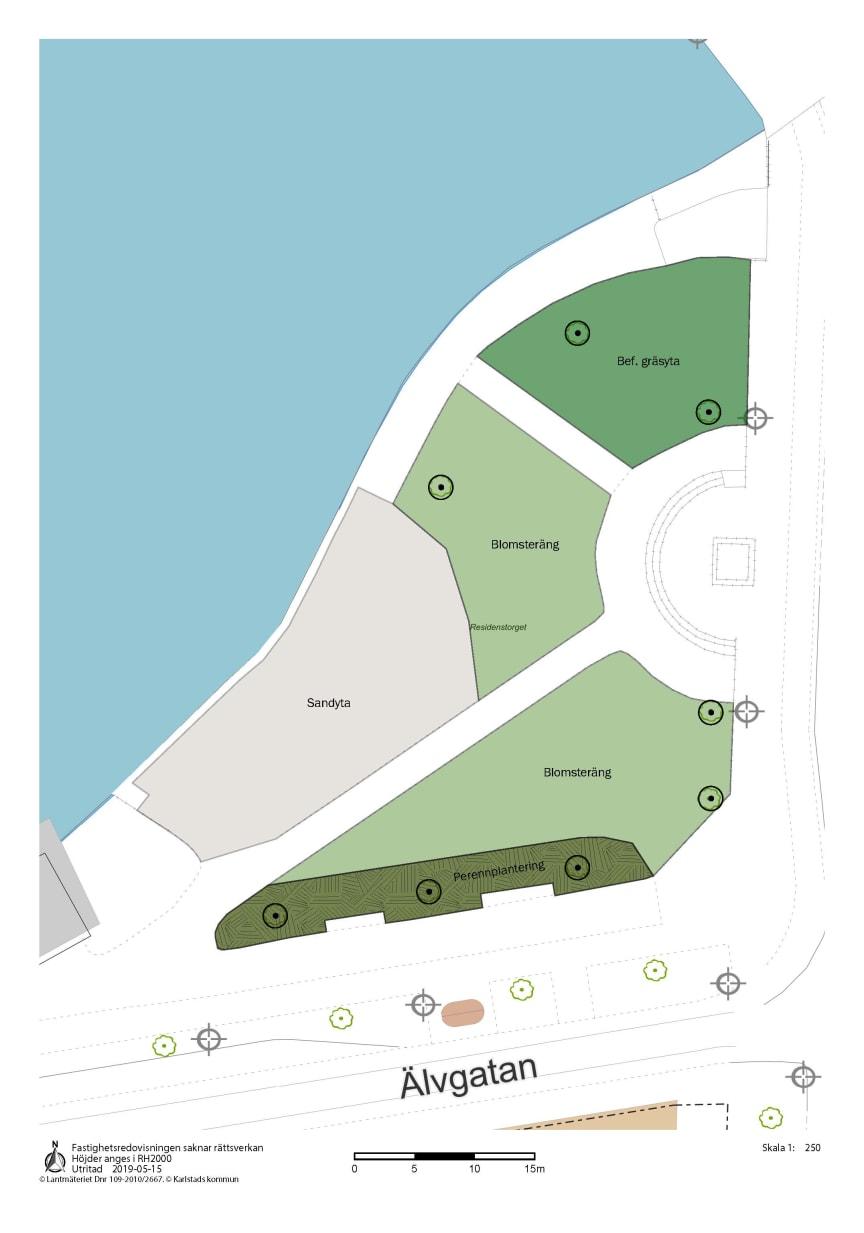 Enkel kartbild som visar ytor för plantering och sandstrand