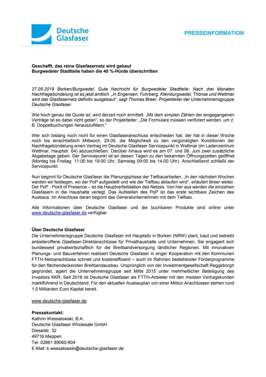 Burgwedel: Geschafft, das reine Glasfasernetz wird gebaut
