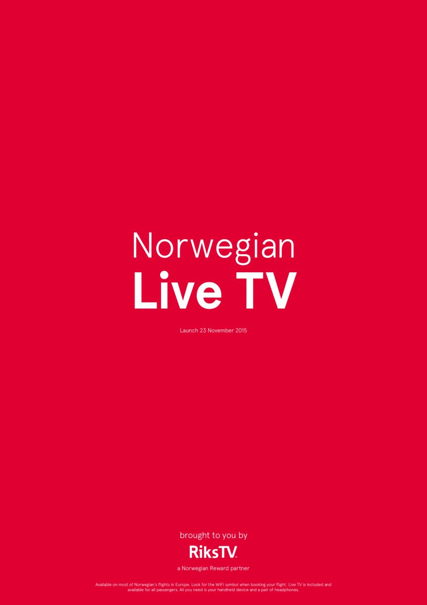 Norwegian tarjoaa ensimmäisenä Euroopassa suorat TV-lähetykset lennoilla