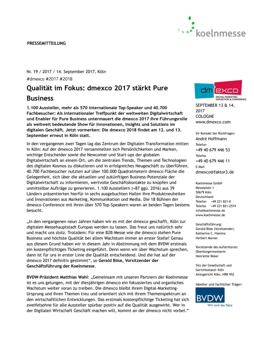 Qualität im Fokus: dmexco 2017 stärkt Pure Business