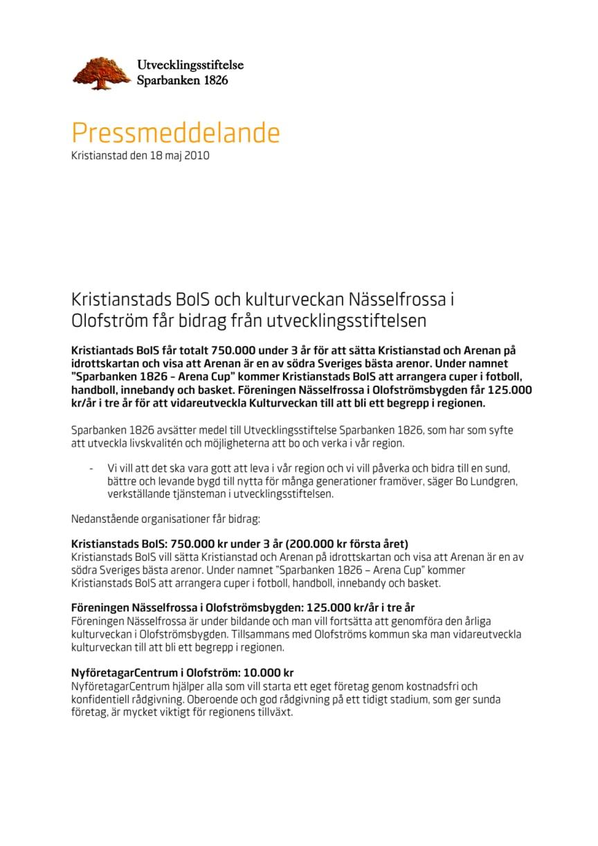 Kristianstads BoIS och kulturveckan Nässelfrossa i Olofström får bidrag från utvecklingsstiftelsen