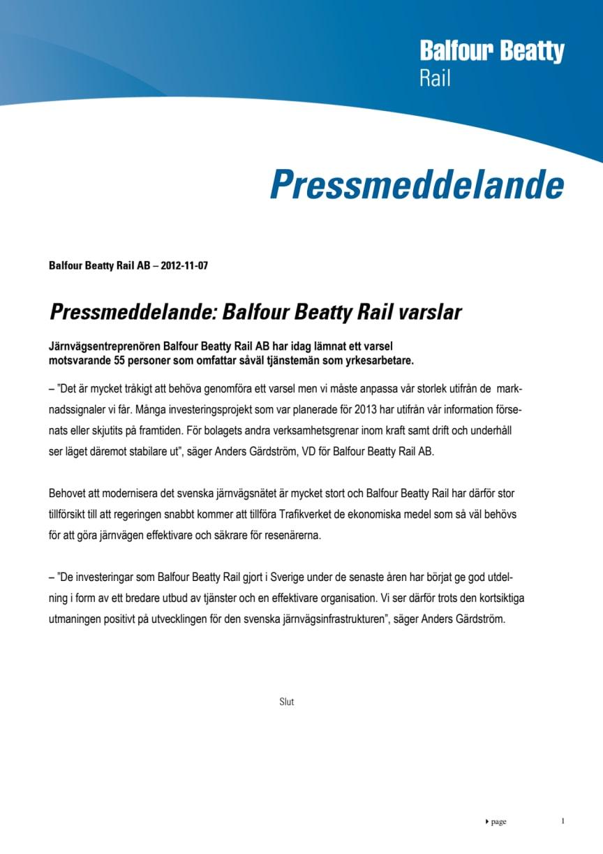 Balfour Beatty Rail AB varslar