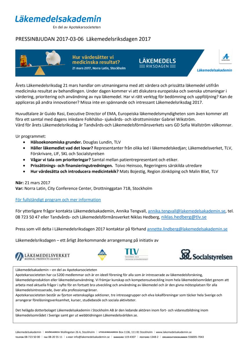 Pressinbjudan till Läkemedelsriksdagen 2017 den 21 mars om hur vi värdesätter medicinska resultat