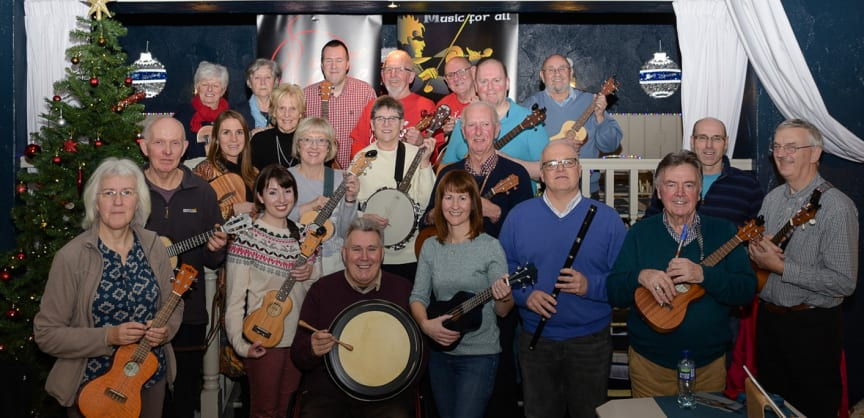 Carrickfergus Traditional Music Society members tuning up for their 'Uke 'n' Tradn Fest' on 14 March 2020