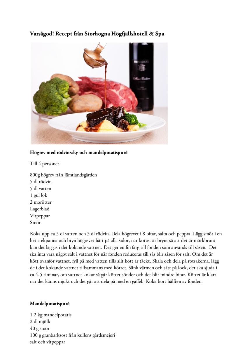 Varsågod! Recept från Storhogna Högfjällshotell & Spa