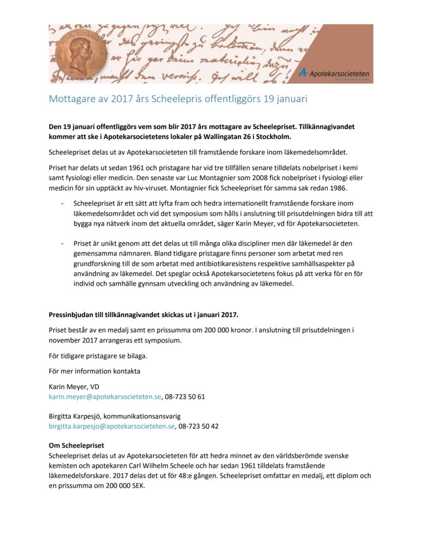 Mottagare av 2017 års Scheelepris offentliggörs 19 januari