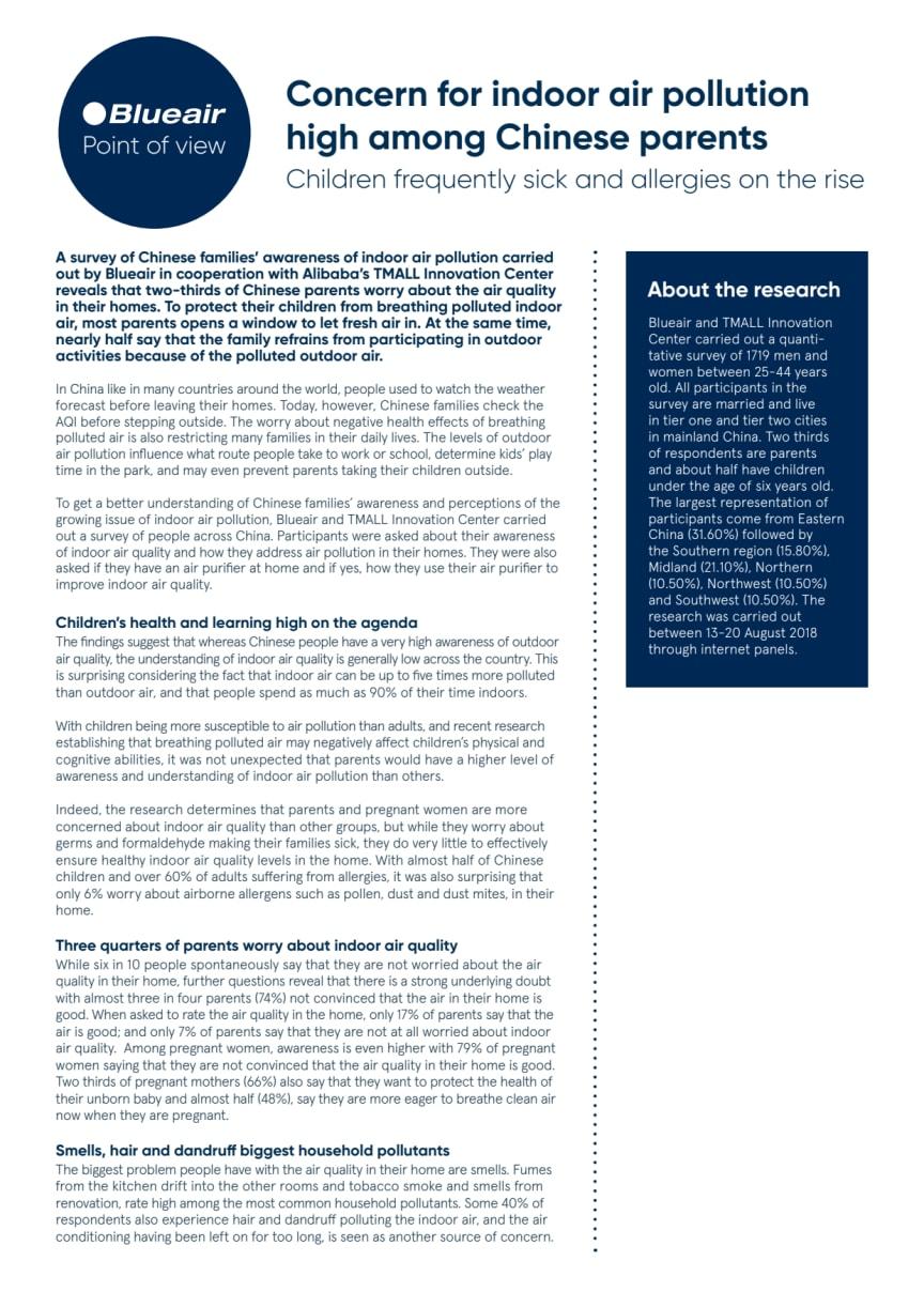 Blueair-TMALL Research on Indoor Air Pollution