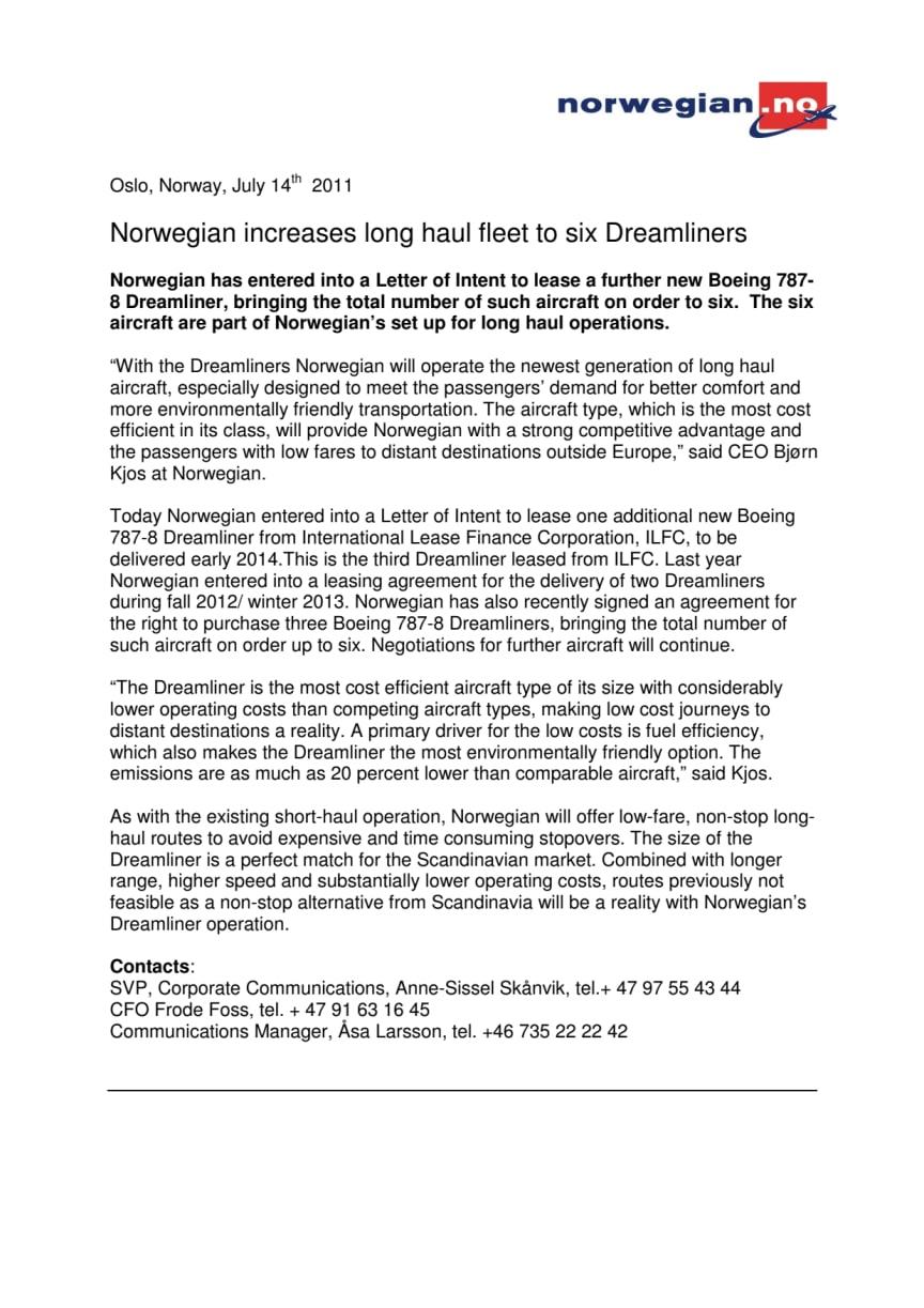 Norwegian increases long haul fleet to six Dreamliners
