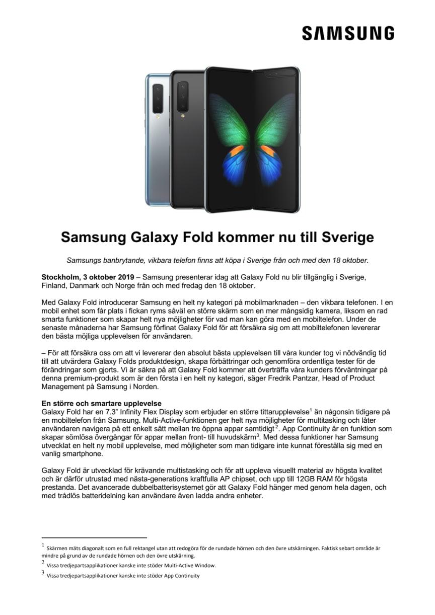 Samsung Galaxy Fold kommer nu till Sverige