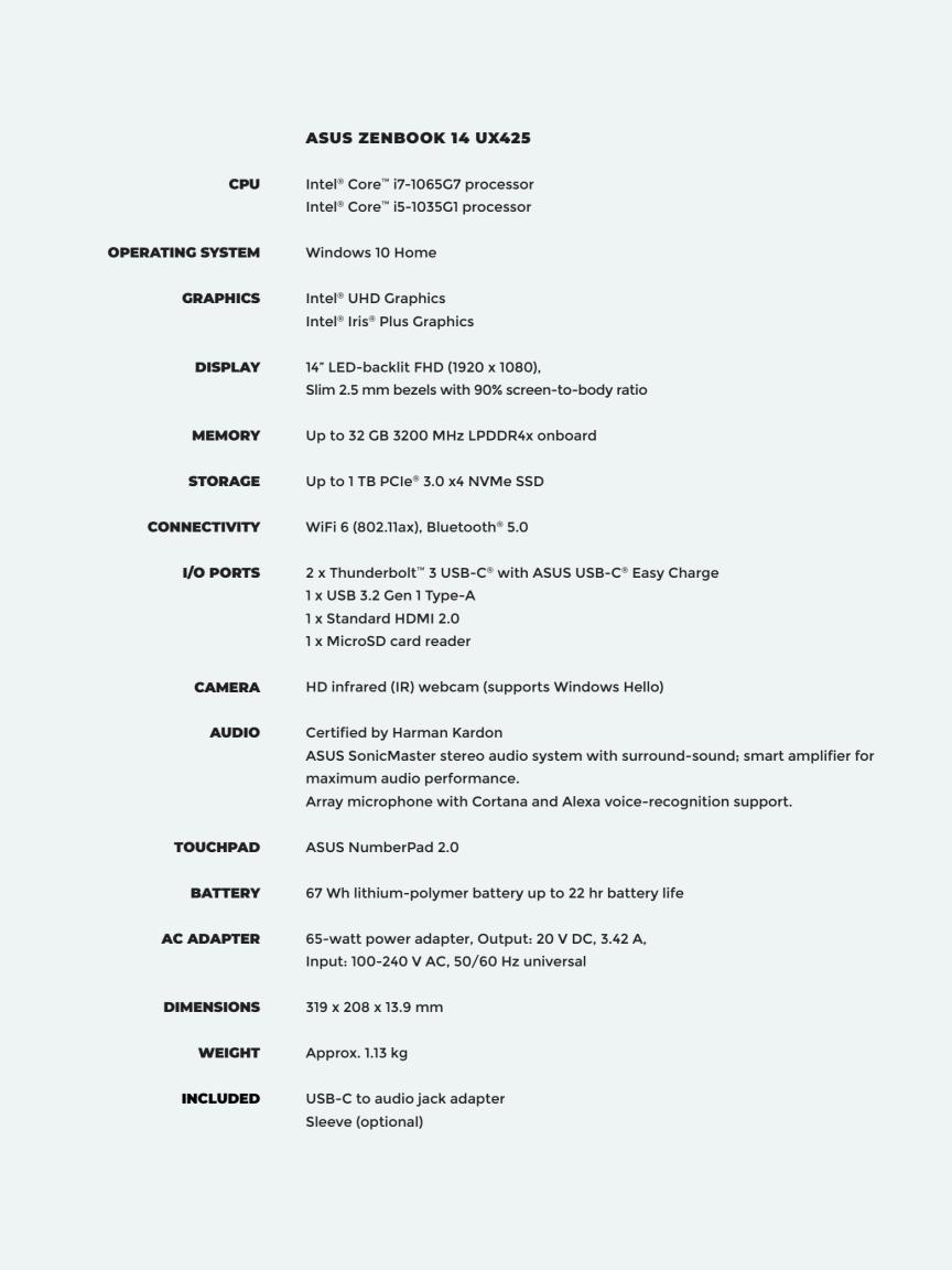 ZenBook 14 (UX425) (Intel)