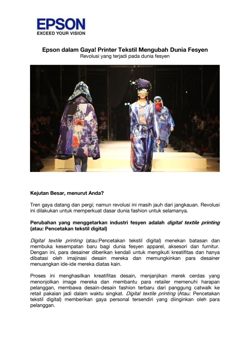 Epson dalam Gaya! Printer Tekstil Mengubah Dunia Fesyen