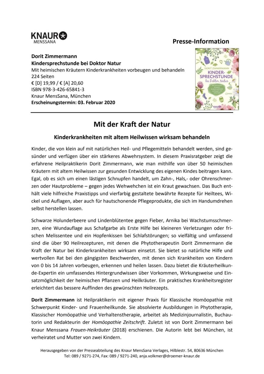 """Pressemitteilung """"Kindersprechstunde bei Doktor Natur"""""""