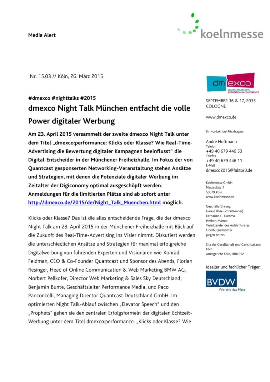 dmexco Night Talk München entfacht die volle Power digitaler Werbung