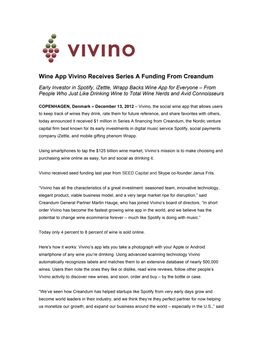 Wine App Vivino Receives Series A Funding From Creandum