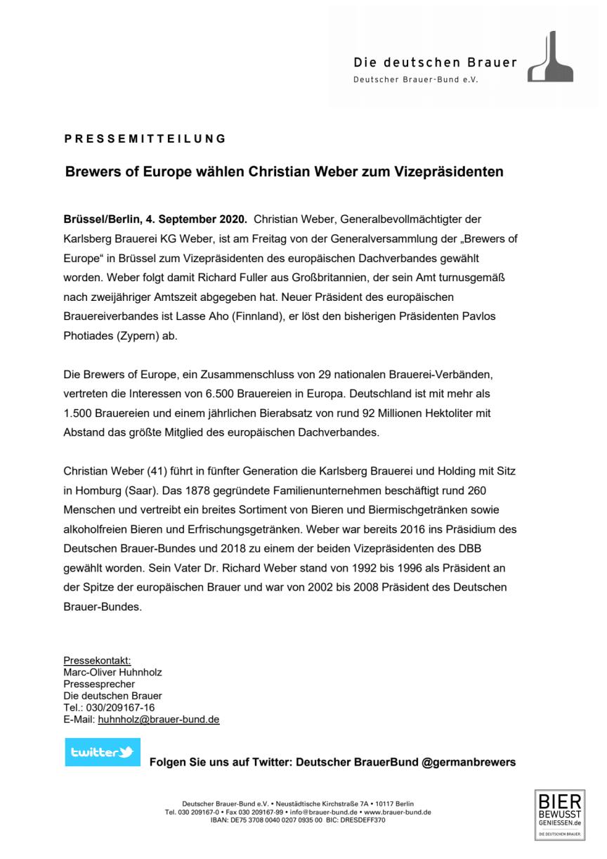 Presseinfo_Weber zum Vizepräsidenten der Brewers of Europe gewählt