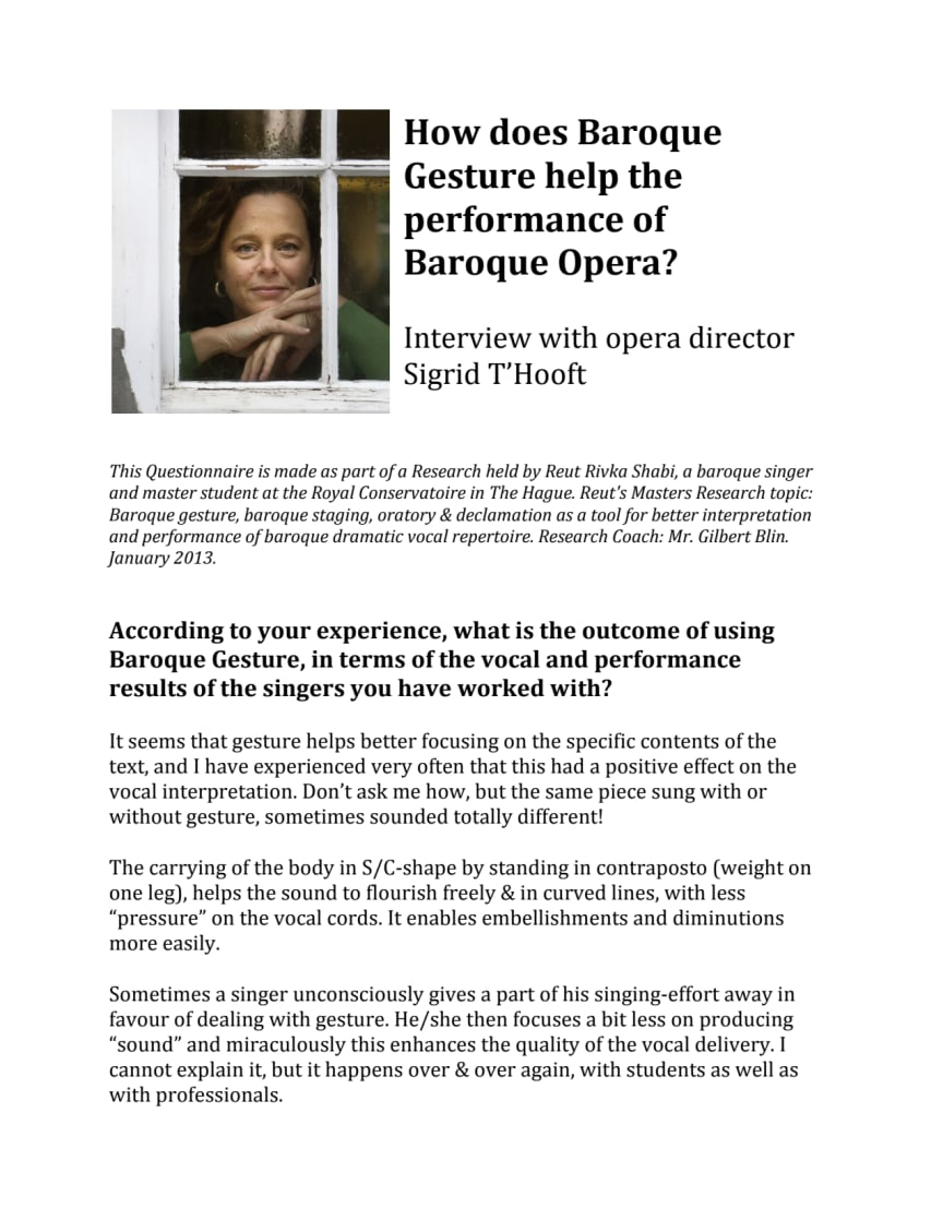 How does Baroque Gesture help the performance of Baroque Opera? Interview with opera director Sigrid T'Hooft