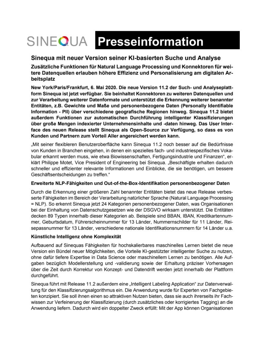 Sinequa präsentiert neues Release seiner KI-basierten Suche und Analyse