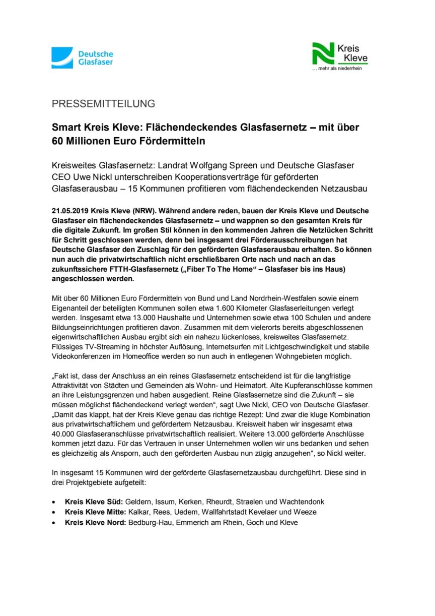 Smart Kreis Kleve: Flächendeckendes Glasfasernetz – mit über 60 Millionen Euro Fördermitteln