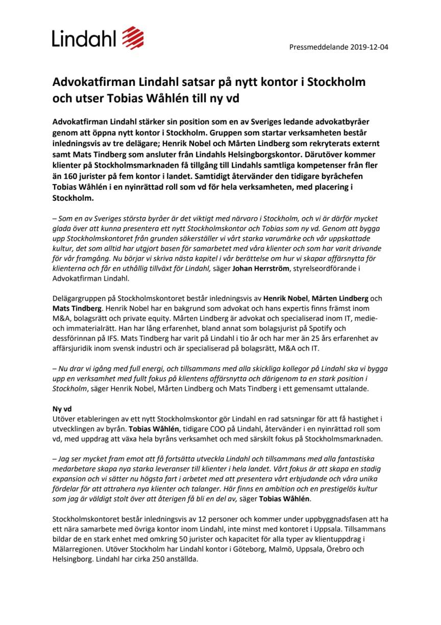 Advokatfirman Lindahl satsar på nytt kontor i Stockholm och utser Tobias Wåhlén till ny vd