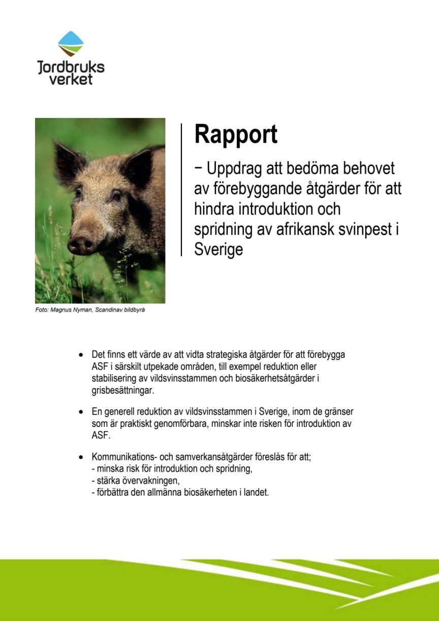 Rapport − Uppdrag att bedöma behovet av förebyggande åtgärder för att hindra introduktion och spridning av afrikansk svinpest i Sverige