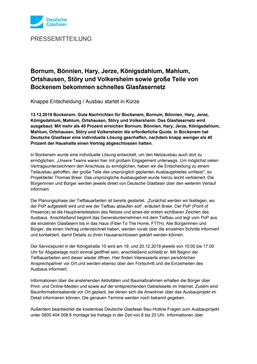 Bornum, Bönnien, Hary, Jerze, Königsdahlum, Mahlum, Ortshausen, Störy und Volkersheim sowie große Teile von Bockenem bekommen schnelles Glasfasernetz
